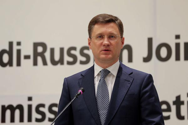 Russia's then-energy minister, Alexander Novak, speaks during at a press conference in Riyadh, Saudi Arabia December 19, 2020. (REUTERS)