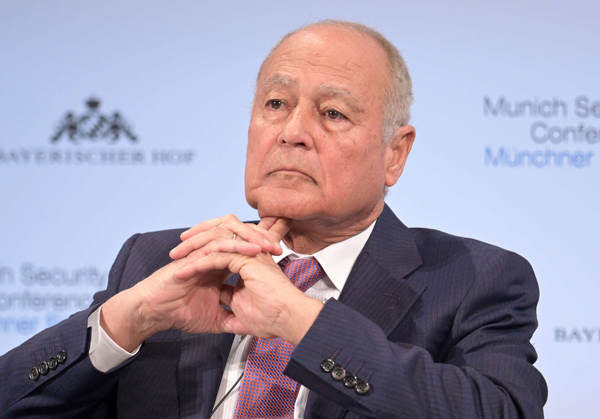 Secretary General of the Arab League Ahmed Aboul Gheit at the Munich Security Conference on 17 February 2019. (DPA)