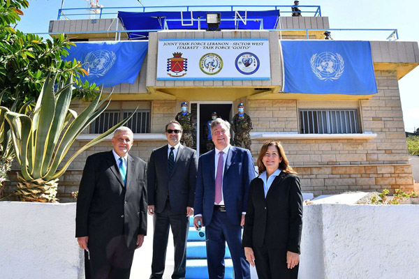 (L to R) United Nations Special Coordinator for Lebanon Jan Kubis, US Assistant Secretary David Schenker, US ambassador to Algeria John Desrocher, and US ambassador in Lebanon Dorothy Shea, who played a mediation role in the first round of Israeli-Lebanese border talks in the southern Lebanese border town of Naqura, on October 14. AFP