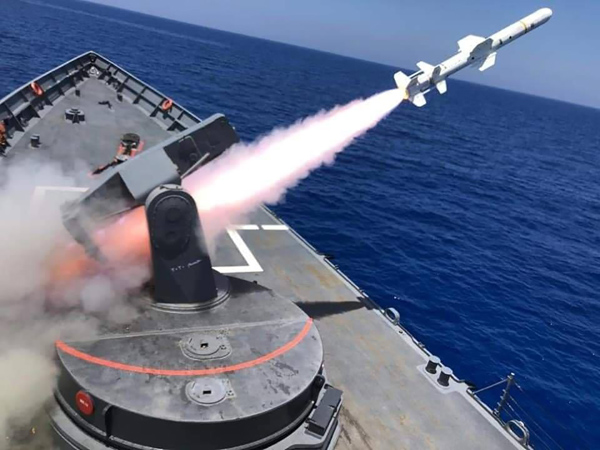 Launch of an anti-naval missile by an Egyptian frigate during exercises. (Egyptian Army on Twitter)