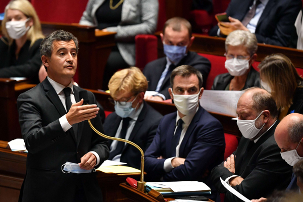 French Interior Minister Gerald Darmanin delivers a speech on September 29, 2020 at the National Assembly in Paris.  (AFP)