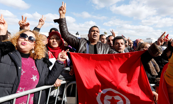 Tunisian teachers protest for better work conditions and higher wages, near the prime minister's office in Tunis, on February 6, 2019. (REUTERS)