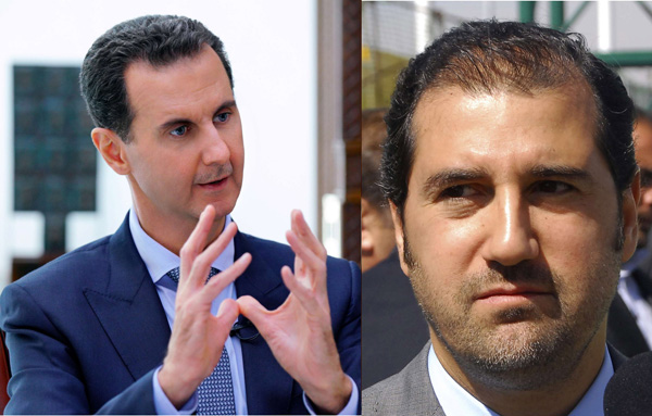 Combination of photos of Syrian President Bashar Assad (LA) and businessman Rami Makhlouf. (The Arab Weekly)