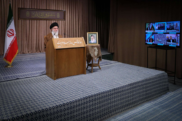 Iran's Ayatollah Ali Khamenei delivers his speech on Al-Quds Day, May 22 in Tehran. (DPA)