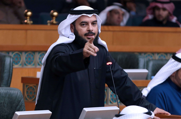Kuwaiti Islamist MP Jamaan al-Harbash speaks during a special parliamentary session in December 2016 at the national assembly in Kuwait City. (AFP)