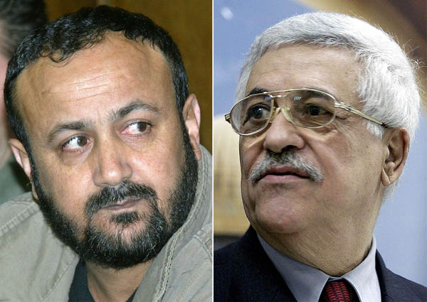 A combo shows jailed mainstream Fatah faction West Bank leader Marwan Barghouti (L) and Palestinian Liberation Organisation Chairman Mahmud Abbas. (AFP)