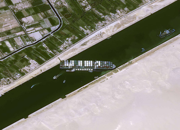 Ship Ever Given, one of the world's largest container ships, is seen after it was fully floated in Suez Canal, Egypt March 29, 2021. (Reuters)