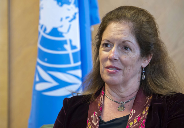 Stephanie Williams, the UN secretary-general's acting special representative in Libya, speaks at the European headquarters of the United Nations in Geneva, Switzerland, Thursday Feb. 4, 2021. (AP)