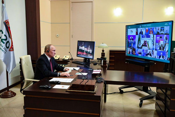 Russian President Vladimir Putin attends the G20 summit via video from Moscow, Russia, on November 21. (AFP)