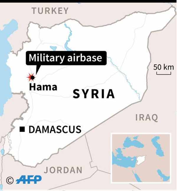 Map of Syria locating Hama military airbase. (AFP)