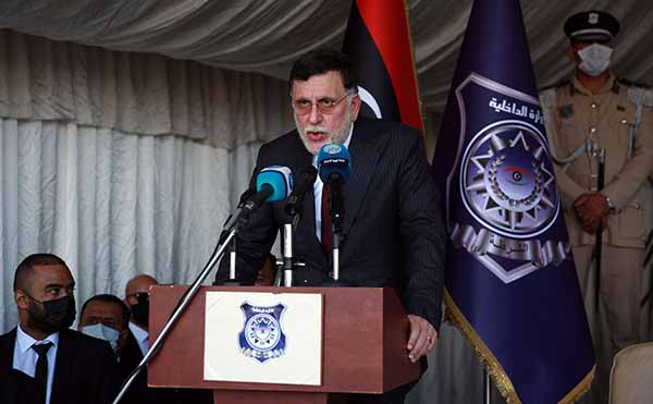 Fayez al-Sarraj, Prime Minister of Libya's Government of National Accord (GNA),  speaks at a ceremony in Tripoli, October 8. (AFP)