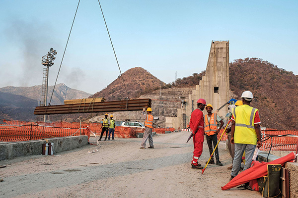 A general view of the construction works at the Grand Ethiopian Renaissance Dam (GERD), near Guba in Ethiopia. (AFP)
