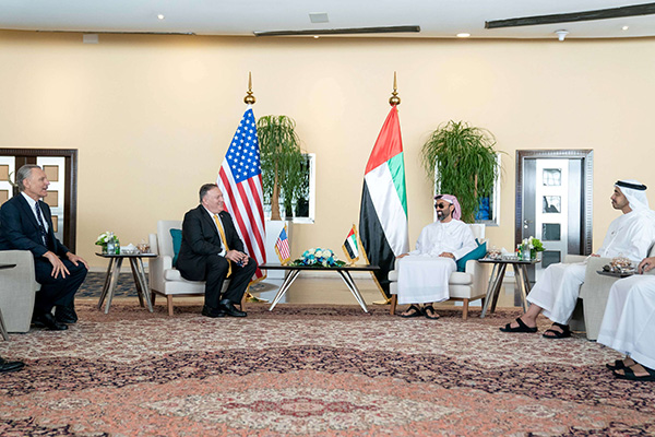 US Secretary of State Mike Pompeo meets with UAE's National Security Adviser Sheikh Tahnoun bin Zayed Al Nahyan and Minister of Foreign Affairs and International Cooperation, Sheikh Abdullah bin Zayed Al Nahyan in Abu Dhabi, United Arab Emirates August 26. (AFP)