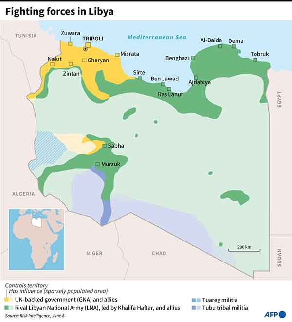 Map showing the positions of forces fighting in Libya (AFP)