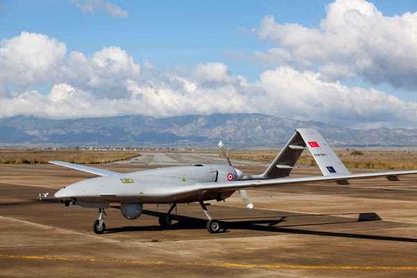 Turkey's Bayraktar TB2 drone at Gecitkale Airport in Famagusta in the self-proclaimed Turkish Republic of Northern Cyprus. (AFP)
