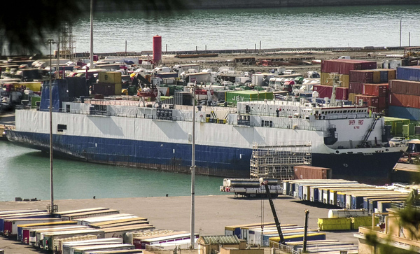 Lebanese-flagged cargo ship suspected of transporting weapons to the GNA docked in the port in Genoa, northern Italy, last Febuary. (AP)