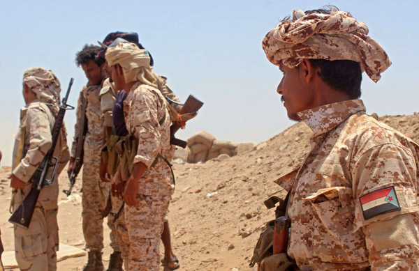 Fighters from of the Southern Transitional Council (STC) in the Sheikh Salim area in the southern Abyan province. (AFP)