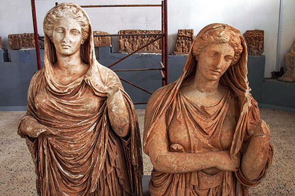 Roman sculptures on display at the Cyrene Museum which houses Greco-Roman artefacts, in the eastern Libyan town of Shahat. (AFP)