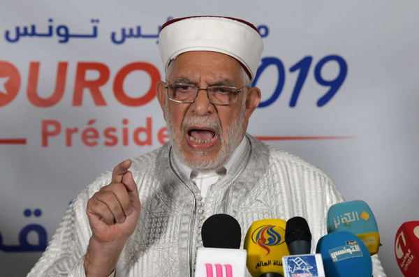 Ennahda presidential candidate Abdelfattah Mourou speaks during a press conference in Tunis, on September 17, 2019. (AFP)
