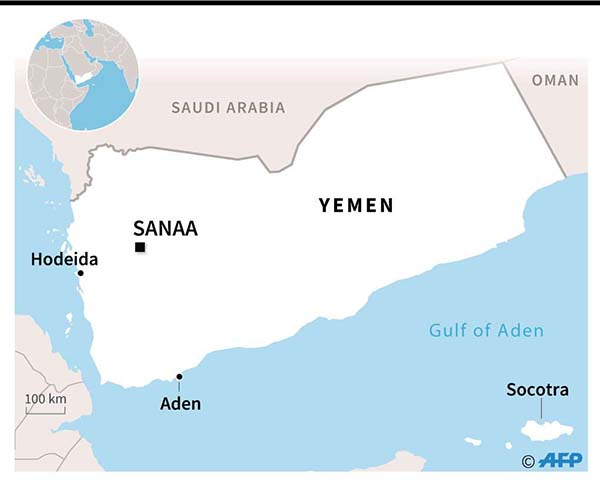 Graphic map of Yemen locating the island of Socotra. (AFP)