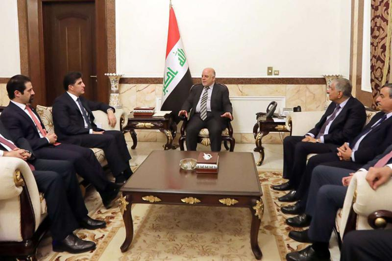 Changing alliances. Iraqi Prime Minister Haider al-Abadi (C) meeting with Prime Minister of Iraq's Kurdistan Regional Government (KRG) Nechirvan Barzani (2nd L) in Baghdad, on January 20. (Iraqi Prime Minister's Office)
