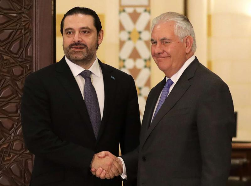 US Secretary of State Rex Tillerson (R) and Lebanese Prime Minister Saad Hariri at the governmental palace in Beirut, on February 15. (AFP)