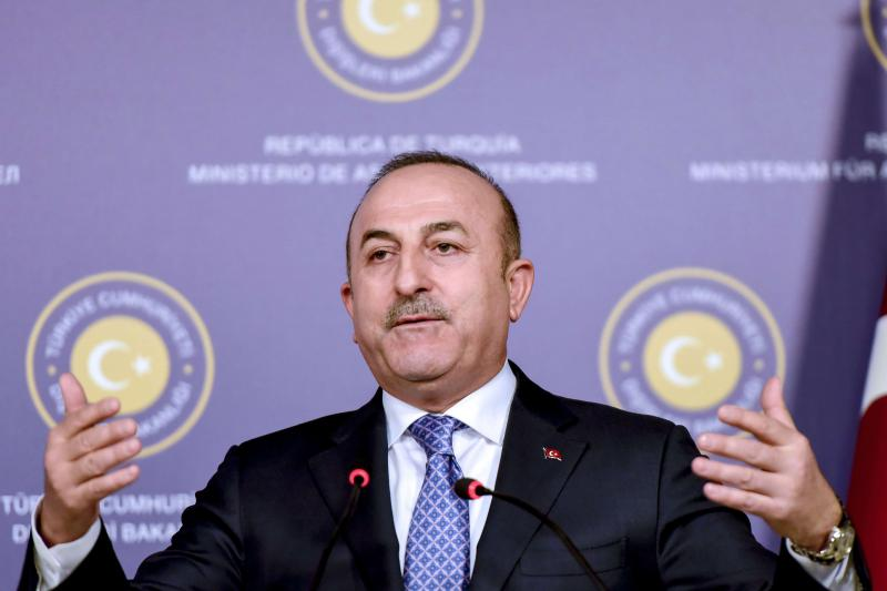 Turkish Foreign Minister Mevlut Cavusoglu speaks at a news conference in Istanbul, on January 25.  (AFP)