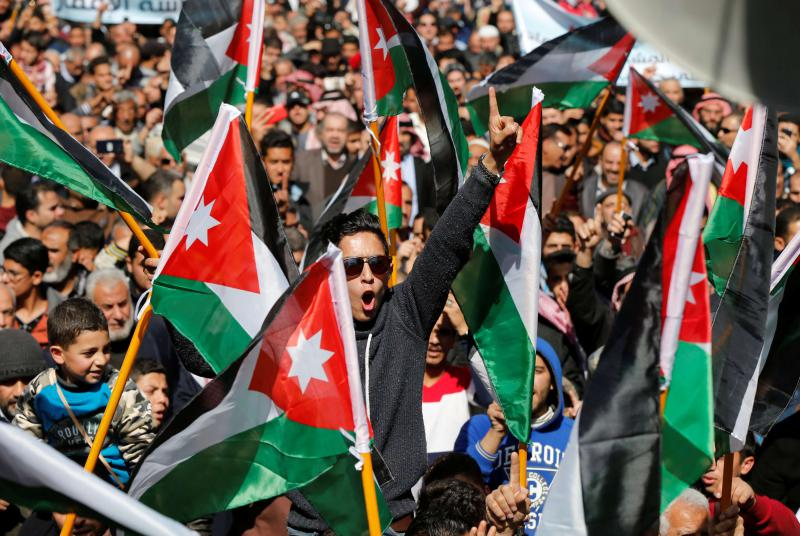 At critical juncture. Jordanians protest in Amman against rising prices and the government's decision to impose new taxes on many goods and services, last February. (Reuters)