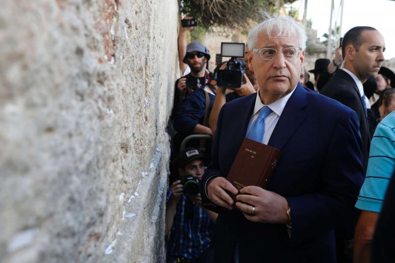 US Ambassador to Israel David Friedman visits the Western Wall in the old city of Jerusalem, last May. (AFP)