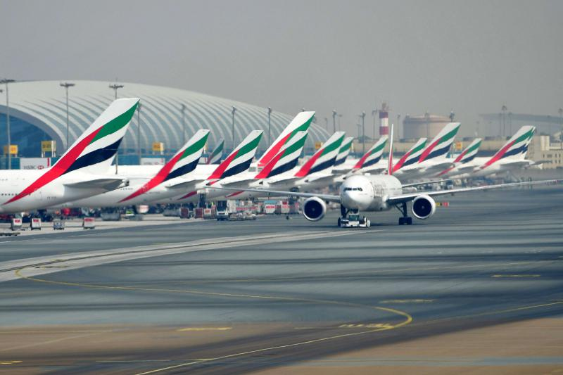 Emirates planes parked at Dubai's International Airport. (Dubai Airports)