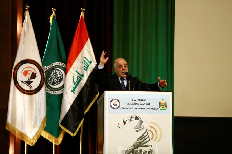 Increasingly weaker. Iraq's Prime Minister Haider al-Abadi speaks during a ceremony in Baghdad, last month. (Reuters)