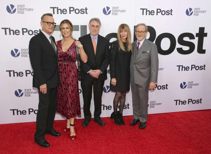 "Actor Tom Hanks (L), actress and singer Rita Wilson (2nd L), Executive Editor of the Washington Post Martin Baron (C), actress Kate Capshaw (2nd R) and director Steven Spielberg (R) attend the premiere of ""The Post"" in Washington, last December.           (AP)"