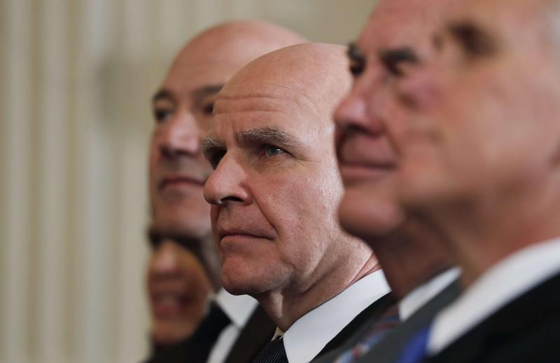 Turbulence ahead. US national security adviser H.R. McMaster listens as he sits between White House economic adviser Gary Cohn (L), Secretary of State Rex Tillerson and Vice-President Mike Pence (R) during a joint news conference at the White House in Washington, last January. (Reuters)