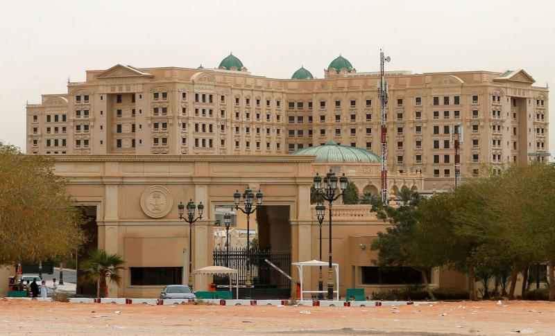A view of the Ritz-Carlton Hotel in the diplomatic quarter of Riyadh, on January 30.  (Reuters)