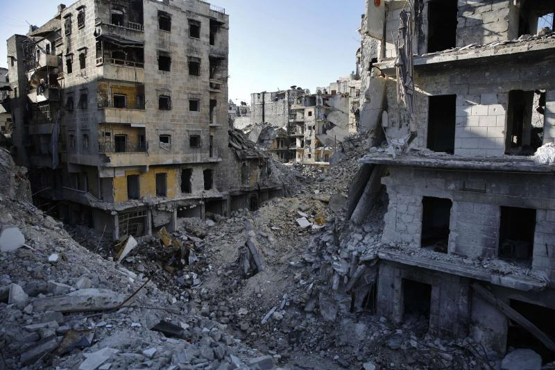 The scope of destruction at the Salaheddin neighbourhood in eastern Aleppo.  (AP)
