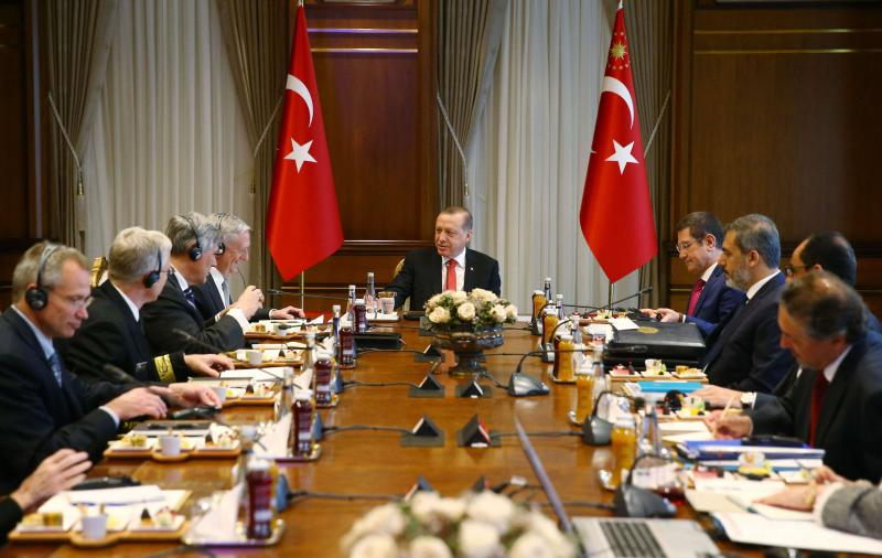 Turkish President Recep Tayyip Erdogan (C) receives US Defence Secretary James Mattis (C-L) within a inter-delegation meeting at the Presidential Complex in Ankara, last August. (AFP)