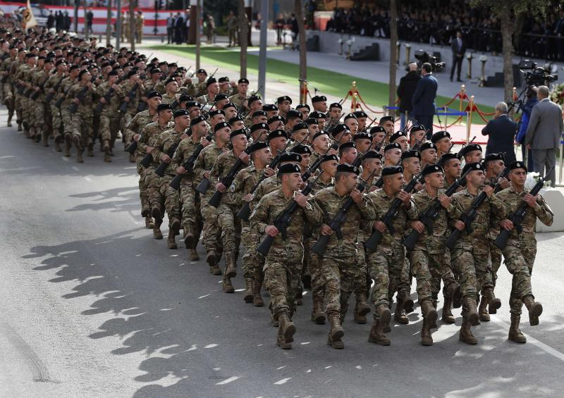 Lebanese soldiers march in Beirut during a military parade to mark the 74th anniversary of Lebanon's independence from France, last November. (AP)