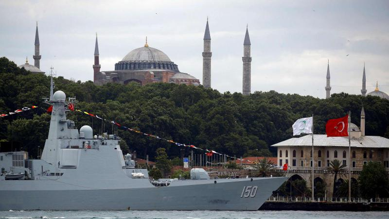 The Chinese Navy's guided missile destroyer Chang Chun with the Byzantine-era monument of Hagia Sophia in the background is docked at Sarayburnu pier in Istanbul. (Reuters)