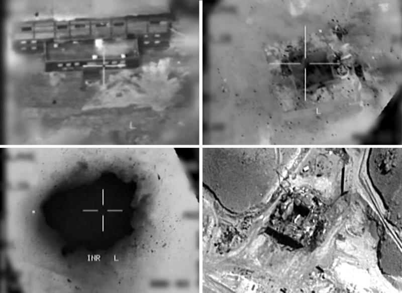 A combination of handout images provided by the Israeli army on March 20 reportedly shows an aerial view of a suspected Syrian nuclear reactor during bombardment in 2007. (AFP)