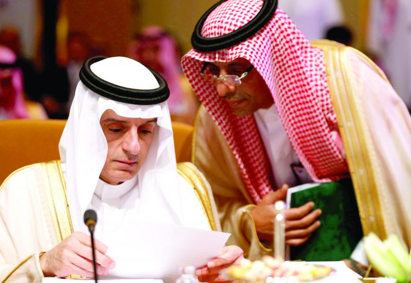 Saudi Foreign Minister Adel al-Jubeir (L)  attends the Arab Foreign meeting in Riyadh, on April 12. (Reuters)