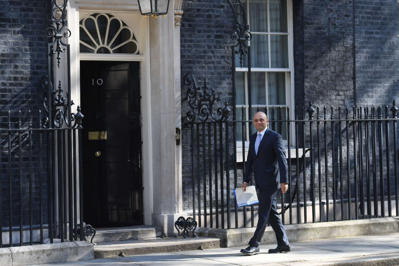 Newly-appointed Home Secretary Sajid Javid arrives in Downing Street, on May 1. (AP)