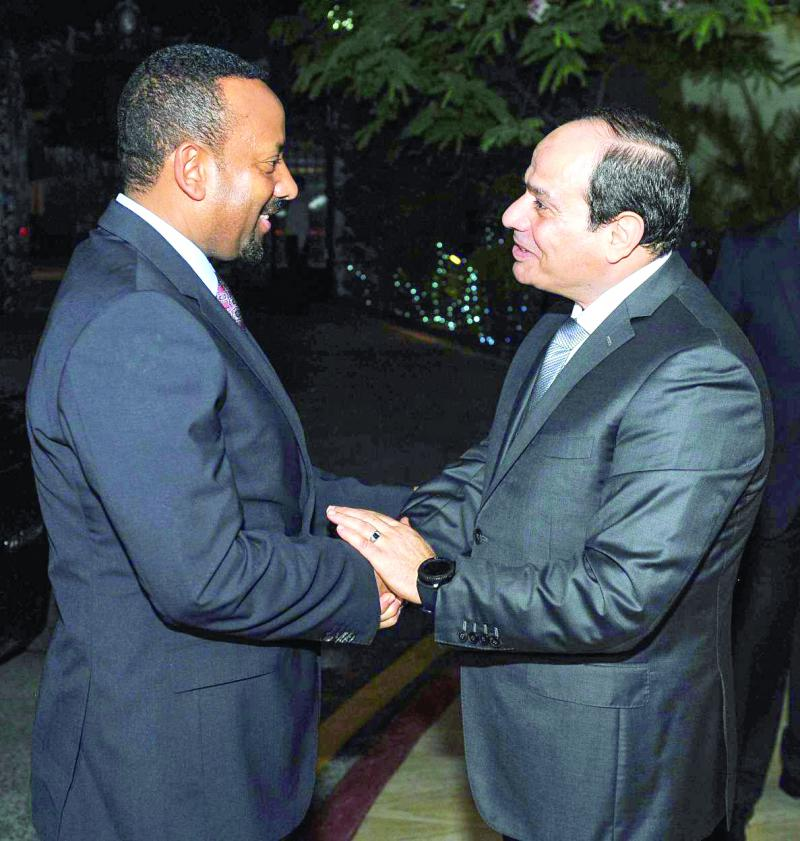 Reassuring words. Egyptian President Abdel Fattah al-Sisi (R) receives Ethiopian Prime Minister Abiy Ahmed in Cairo, on June 10. (Reuters)