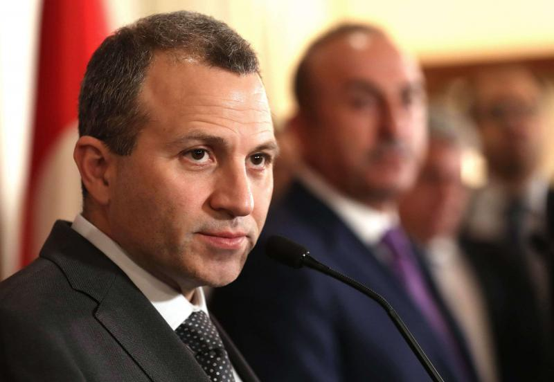 Lebanon's Foreign Minister Gebran Bassil (L) at a joint press conference in Ankara on November 16, 2017. (AFP)