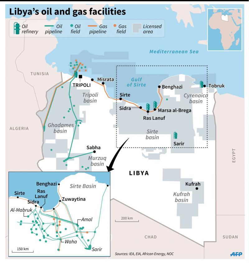 Map of Libya showing oil and gas fields, pipelines and oil refineries. (AFP)