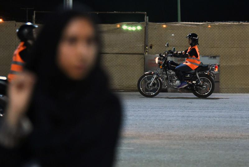 A Saudi Arabian woman prepares for a training session at the Bikers Skills Institute, on the outskirts of Riyadh, on June 3. (AFP)