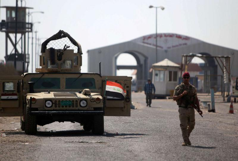 Iraqi soldiers are seen at Umm Qasr Port after it was closed by protesters in south of Basra, on September 6. (Reuters)