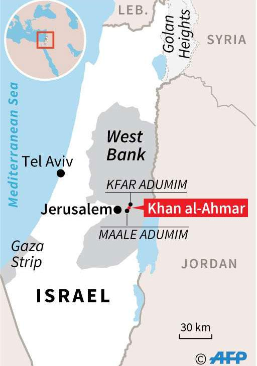 Map of the West Bank locating the Bedouin village of Khan al-Ahmar (AFP)