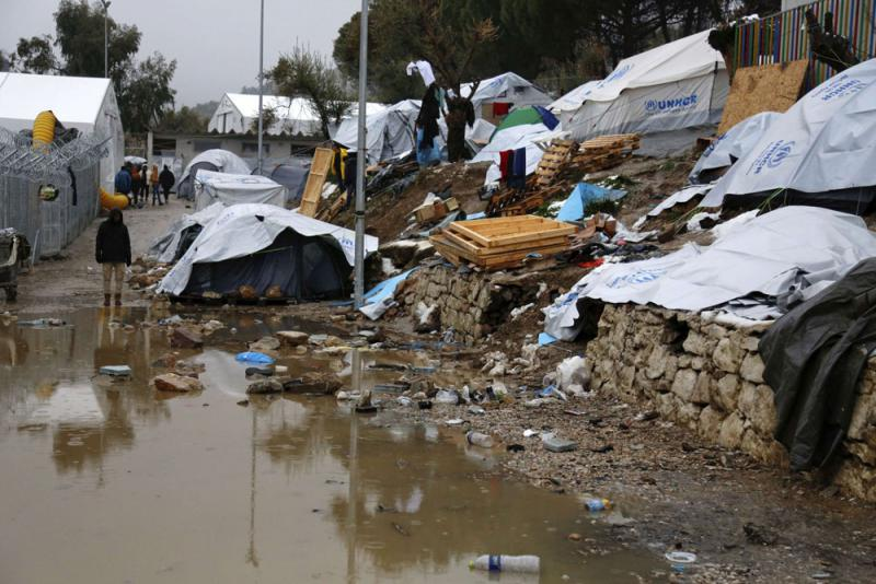 A pool of mud at Moria refugee camp on the eastern Greek island of Lesbos. (AP)