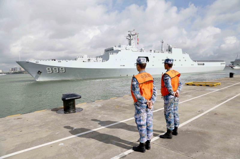 A ship carrying Chinese military personnel departs a port in Zhanjiang as it prepares to sail to Djibouti. (Xinhua)