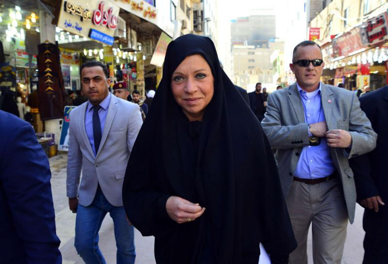 Special Representative of the United Nations Secretary-General for Iraq Jeanine Hennis-Plasschaert walks in Iraq's holy city of Najaf, on February 6. (AFP)